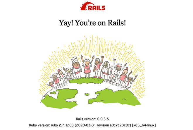 railsの環境構築完了